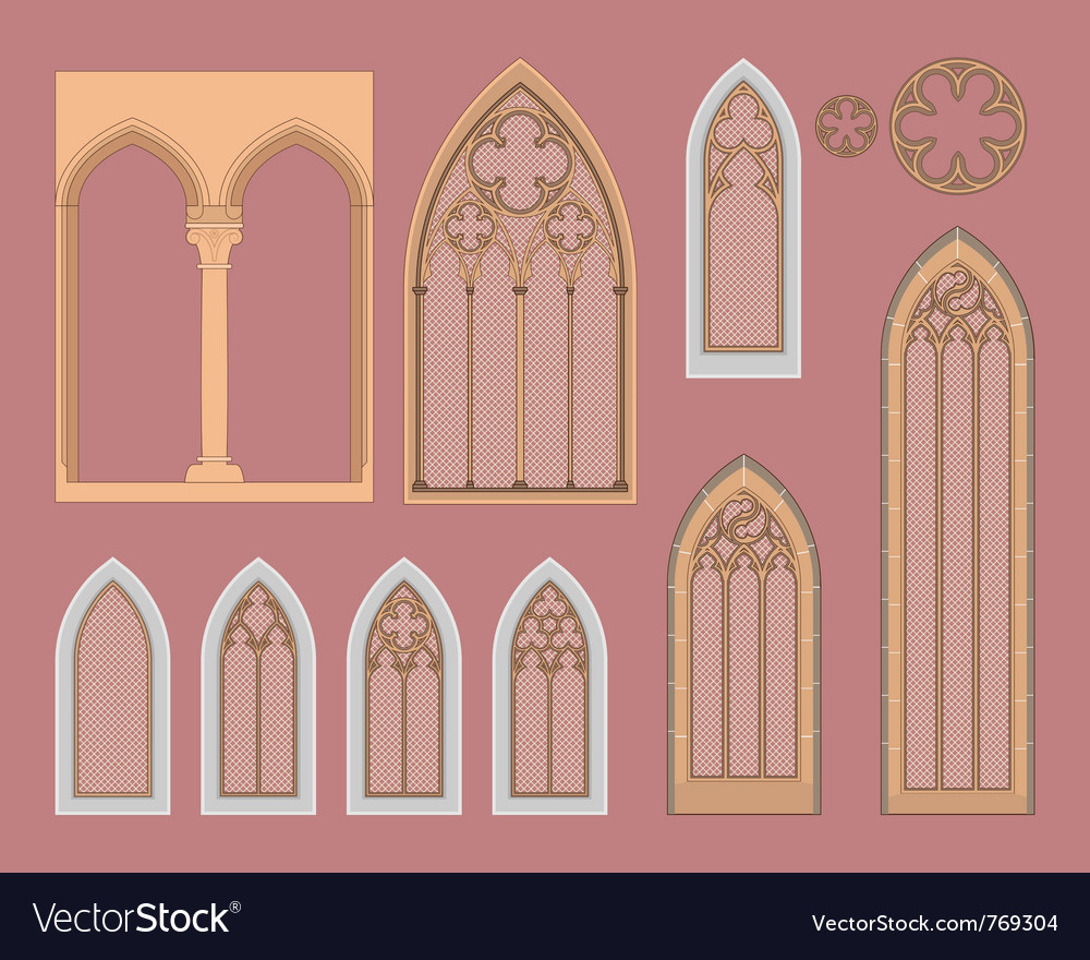 Gothic windows vector