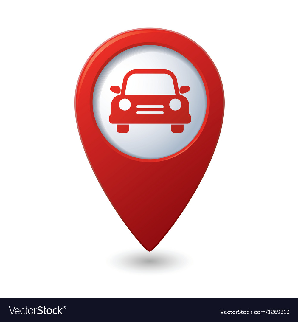 Map pointer with car icon vector