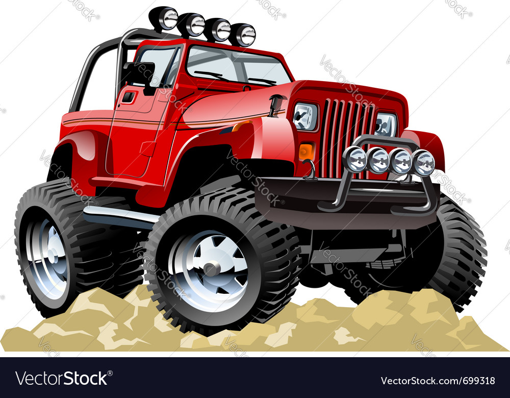 Cartoon jeep oneclick repaint vector