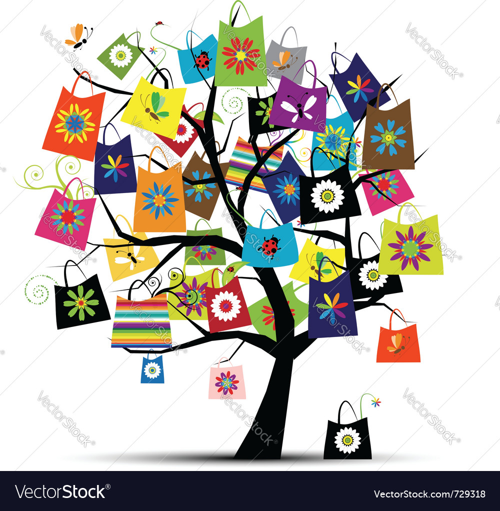 Shopping bags on tree vector