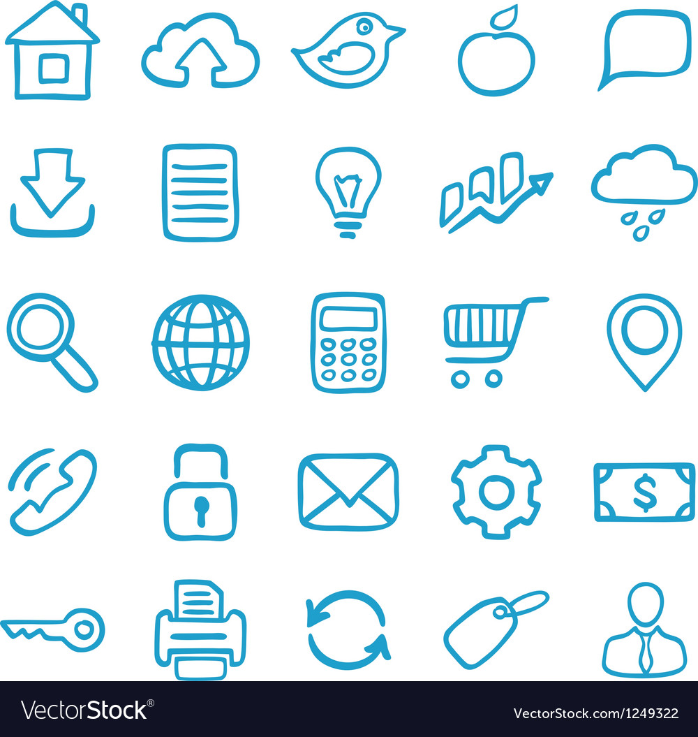 Handdrawn icons for design vector