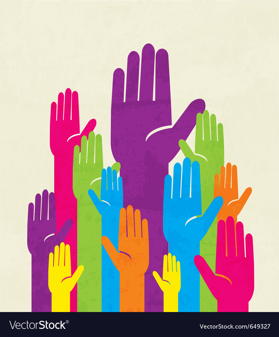 Colorful up hand concept of democracy vector