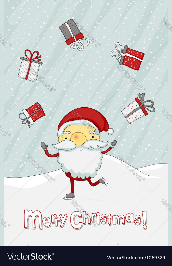 Christmas card with santa claus vector