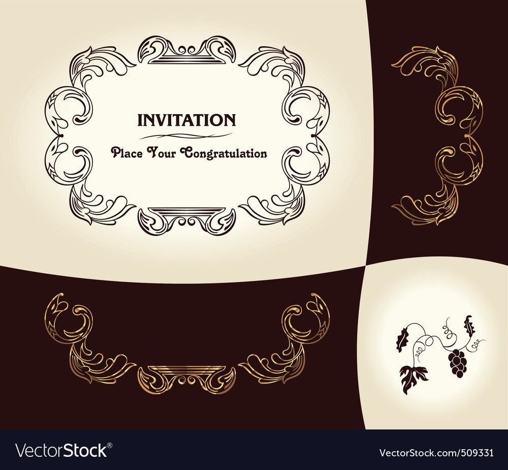 Grapes vintage frame baroque ancient vector