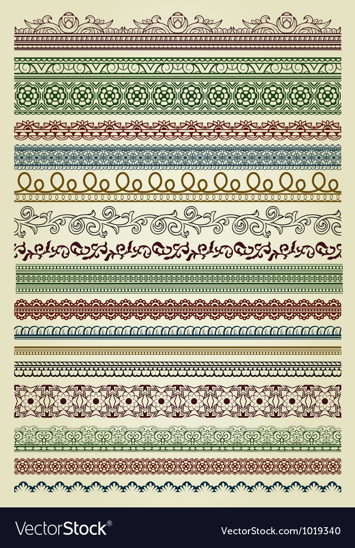 Set of vintage lines vector