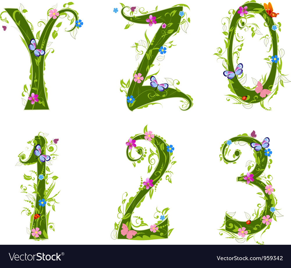 Foliage letter 5 vector