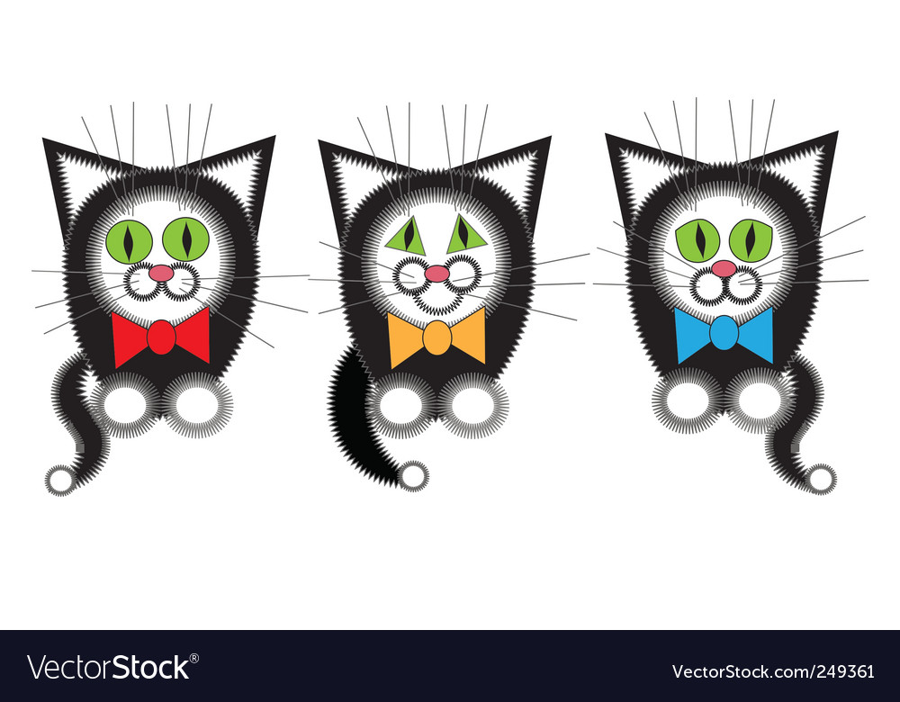 Three cat musician vector