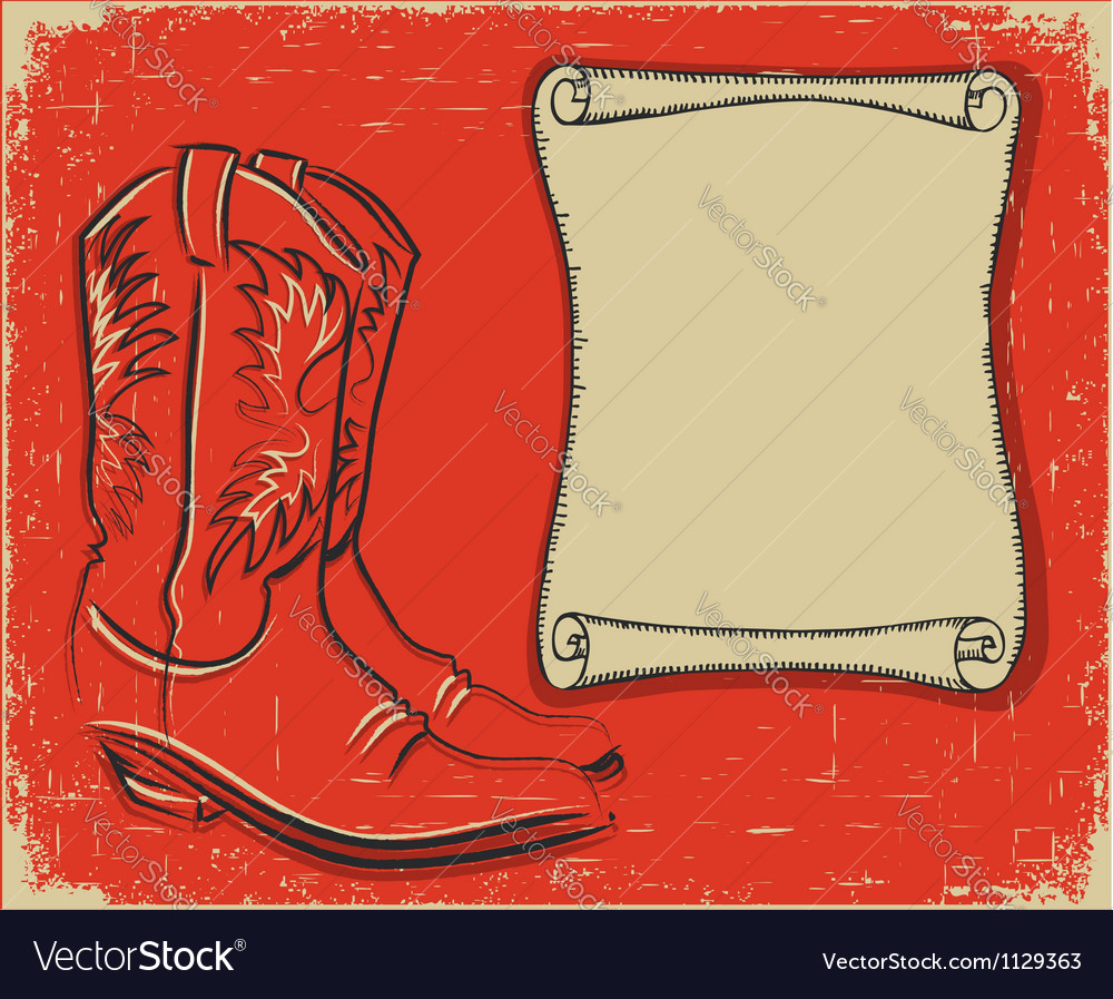 Cowboy boots and scroll paper background for text vector