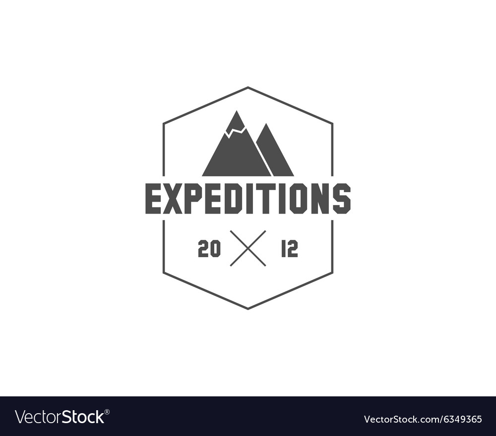 Vintage mountain expedition camping badge outdoor