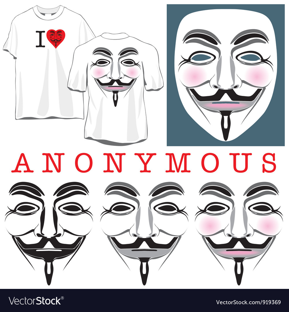 Anonymous faces in black color and tshirts vector