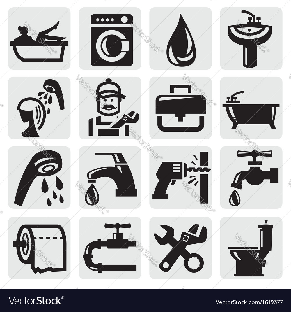 Bathroom icons vector