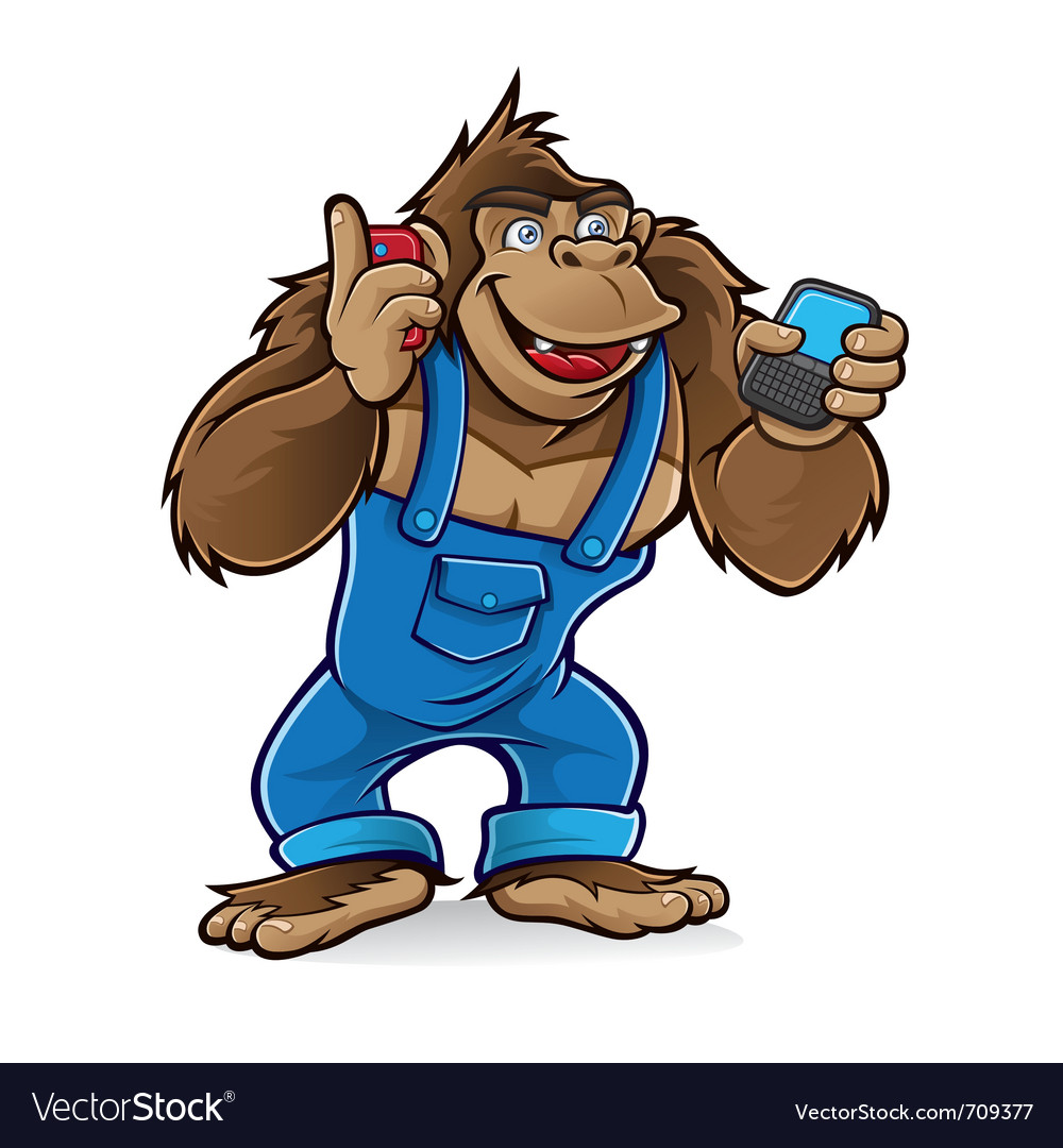 Cartoon gorilla with mobile phones vector