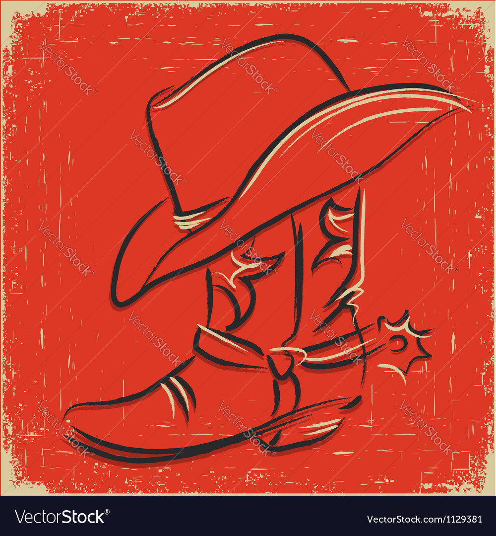 Cowboy boot and western hat sketch foe design vector