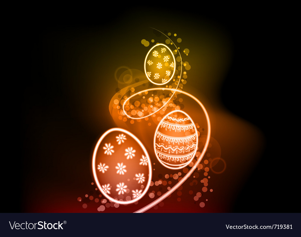 Easter eggs on the shine background vector