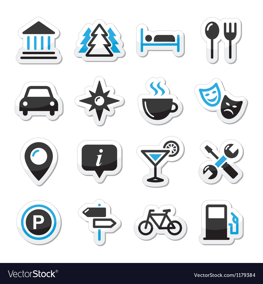 Travel tourism icons set  vector