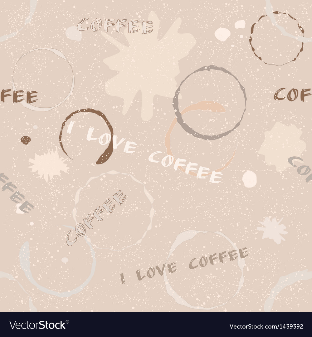 Grunge coffee seamless pattern with text vector