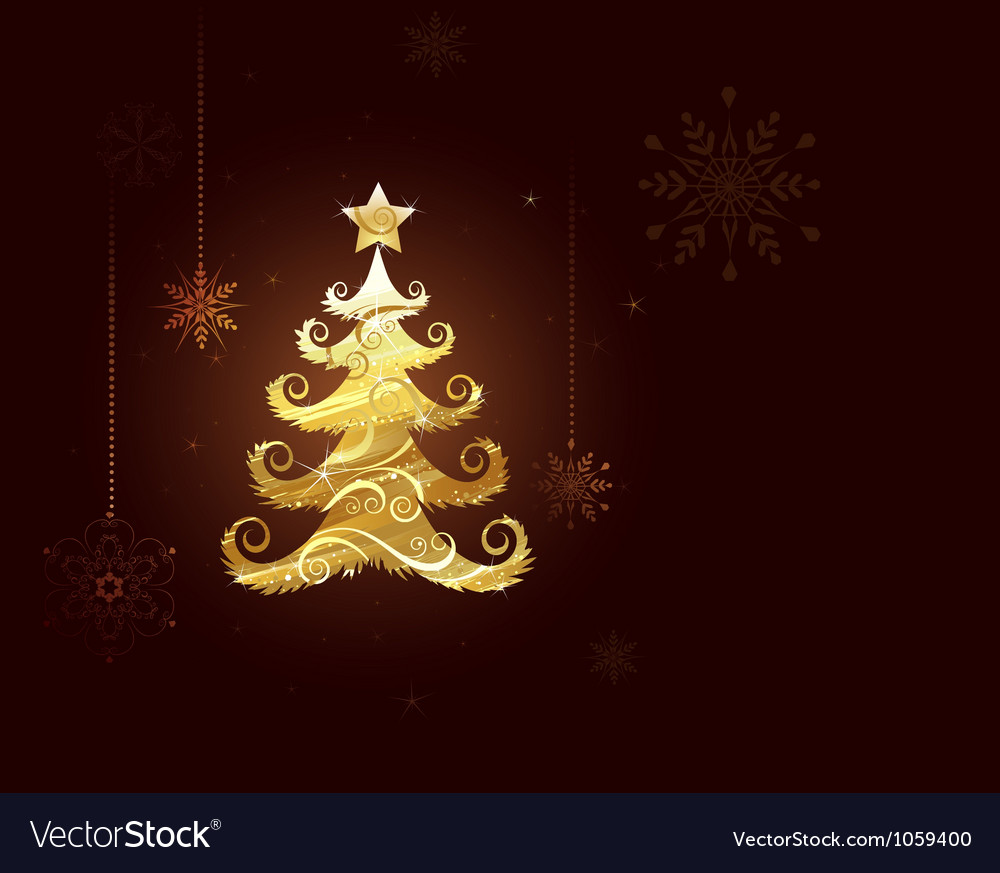Free christmas tree of gold foil vector