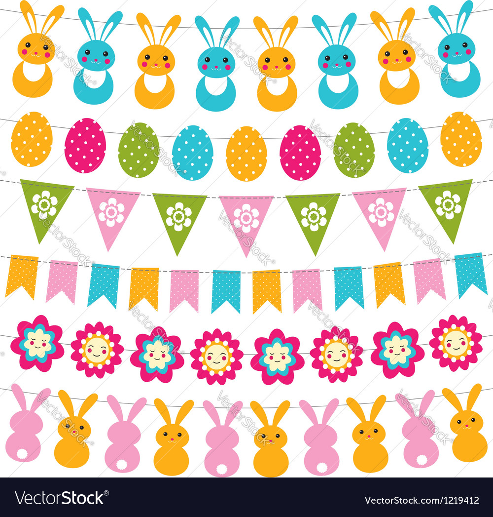 Easter garlands set vector