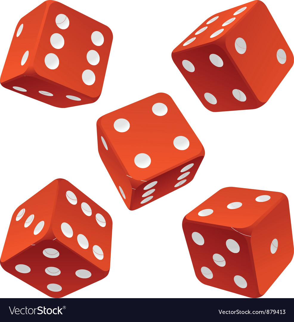 Red dice set vector