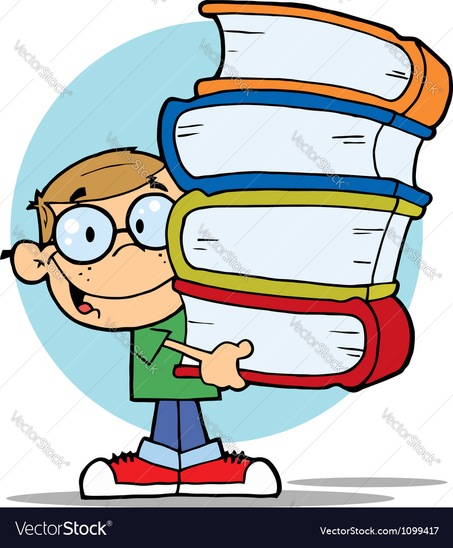 Happy smart school boy carrying a stack of books vector