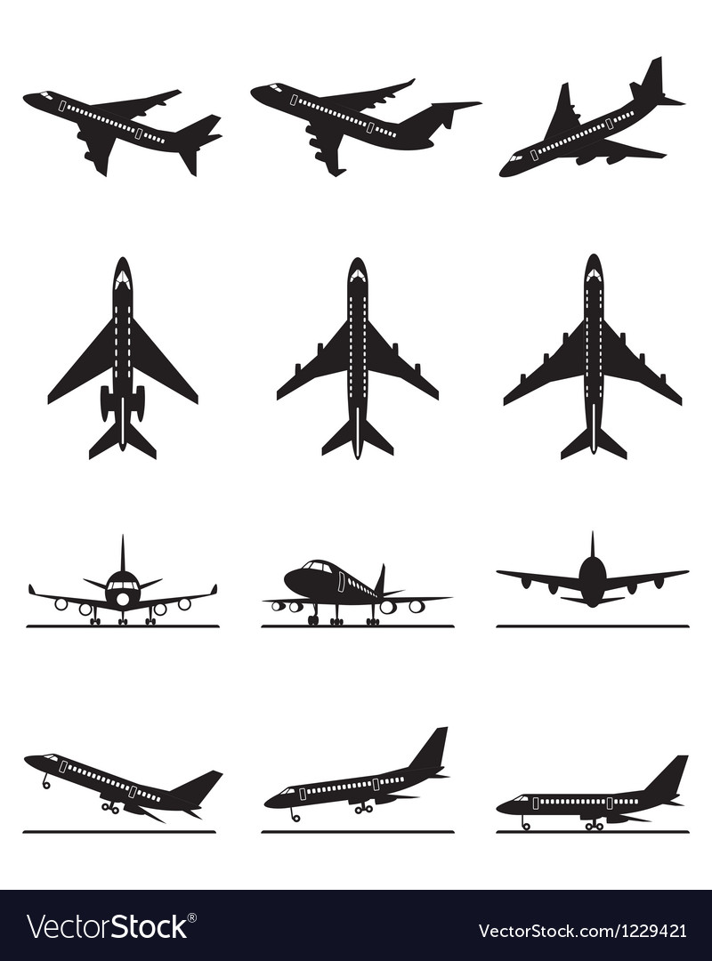 Different passenger aircrafts in flight vector