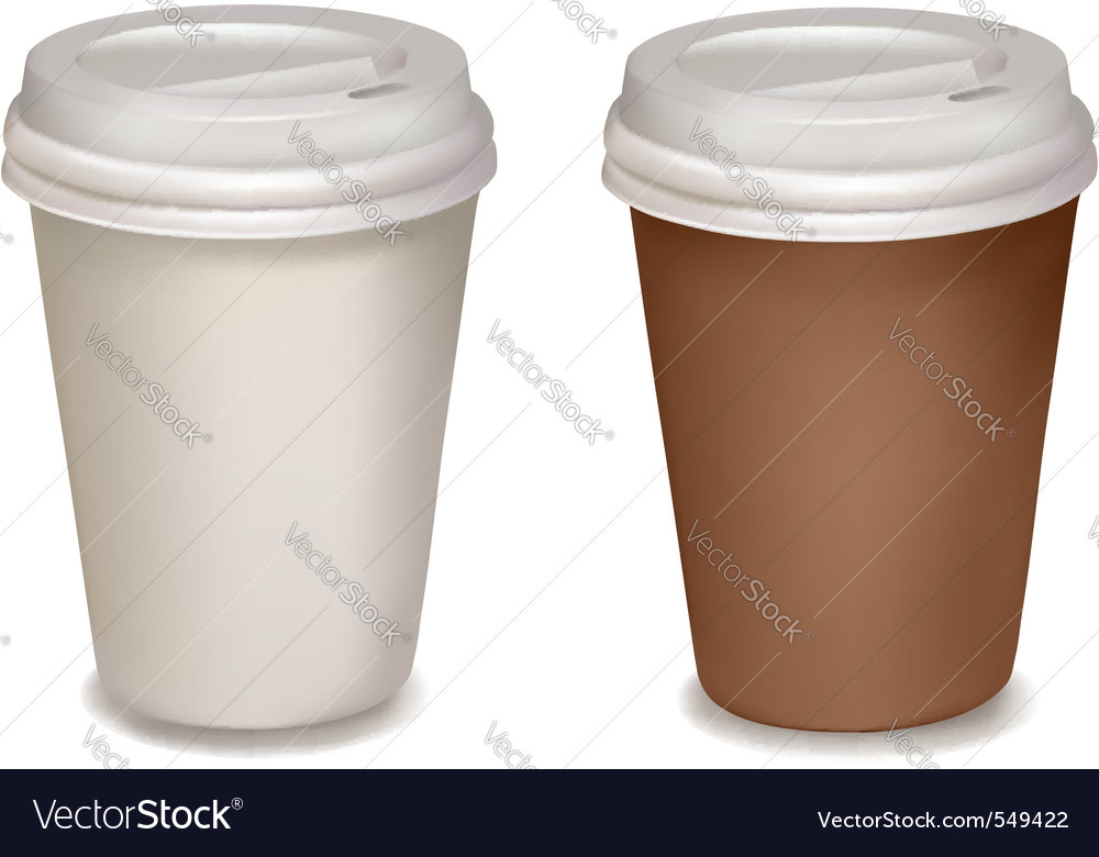 Plastic coffee cups vector