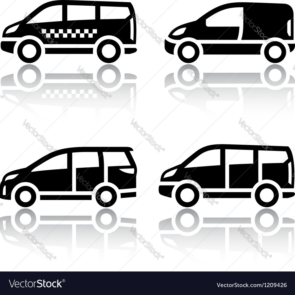 Set of transport icons  cargo van vector