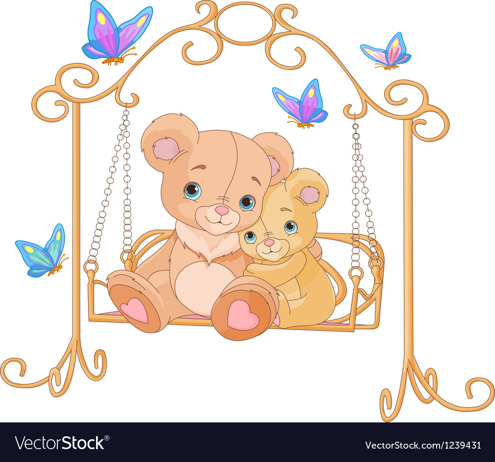 Pair of bears on a swing vector