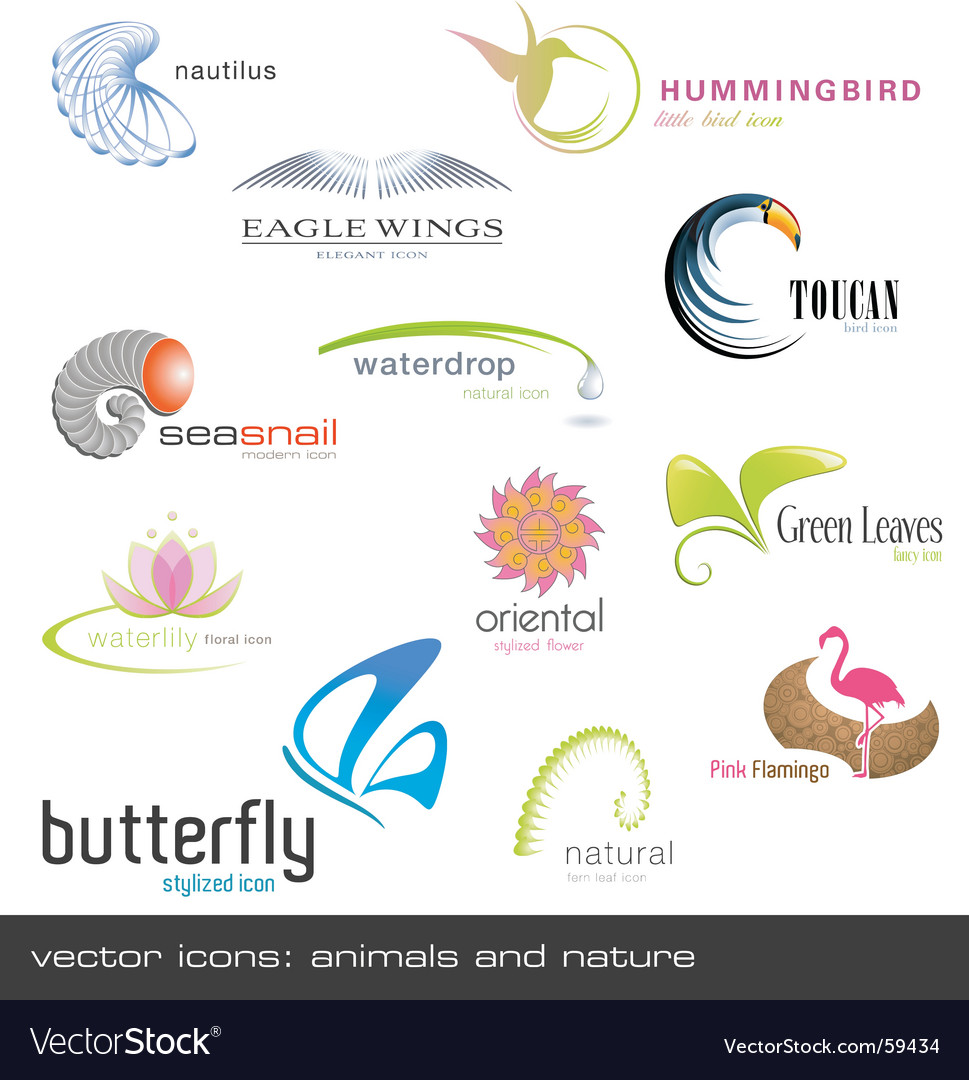 Icons animals and nature vector