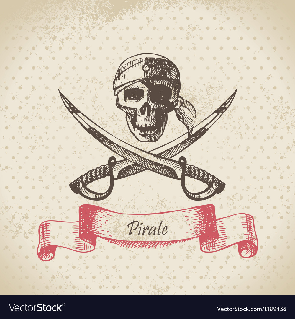 Pirate skull hand drawn vector
