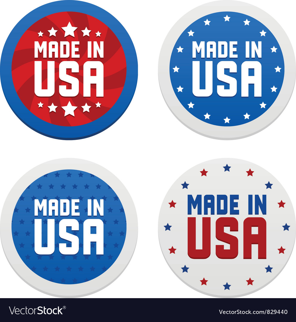 Stickers with made in usa vector