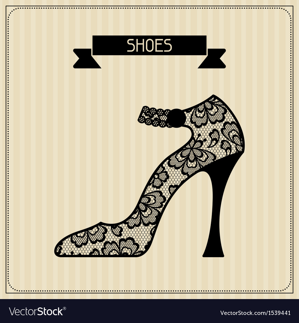 Shoes vintage lace background floral ornament vector