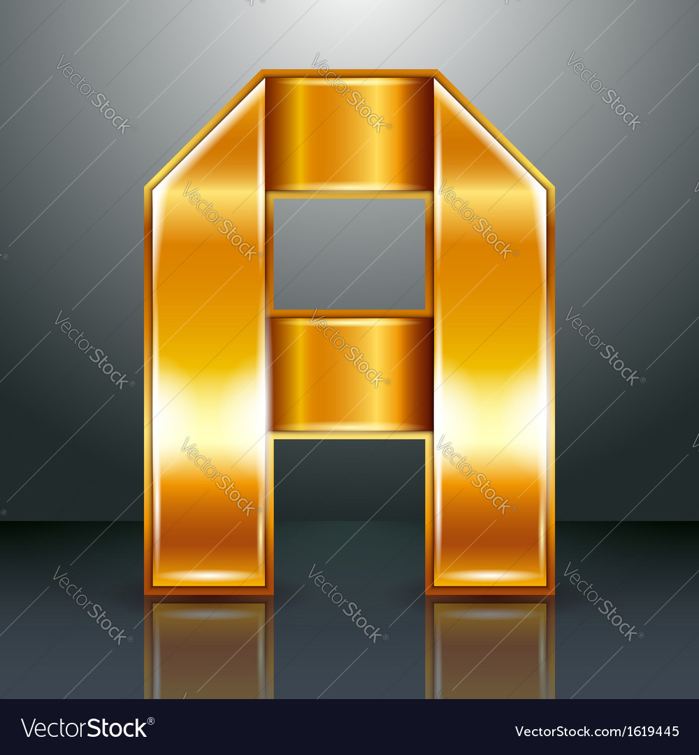 Letter metal gold ribbon  a vector