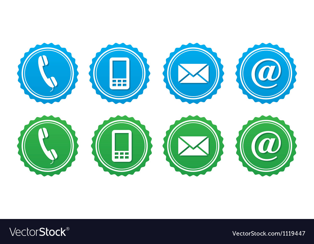 Contact retro labels set  blue and green vector