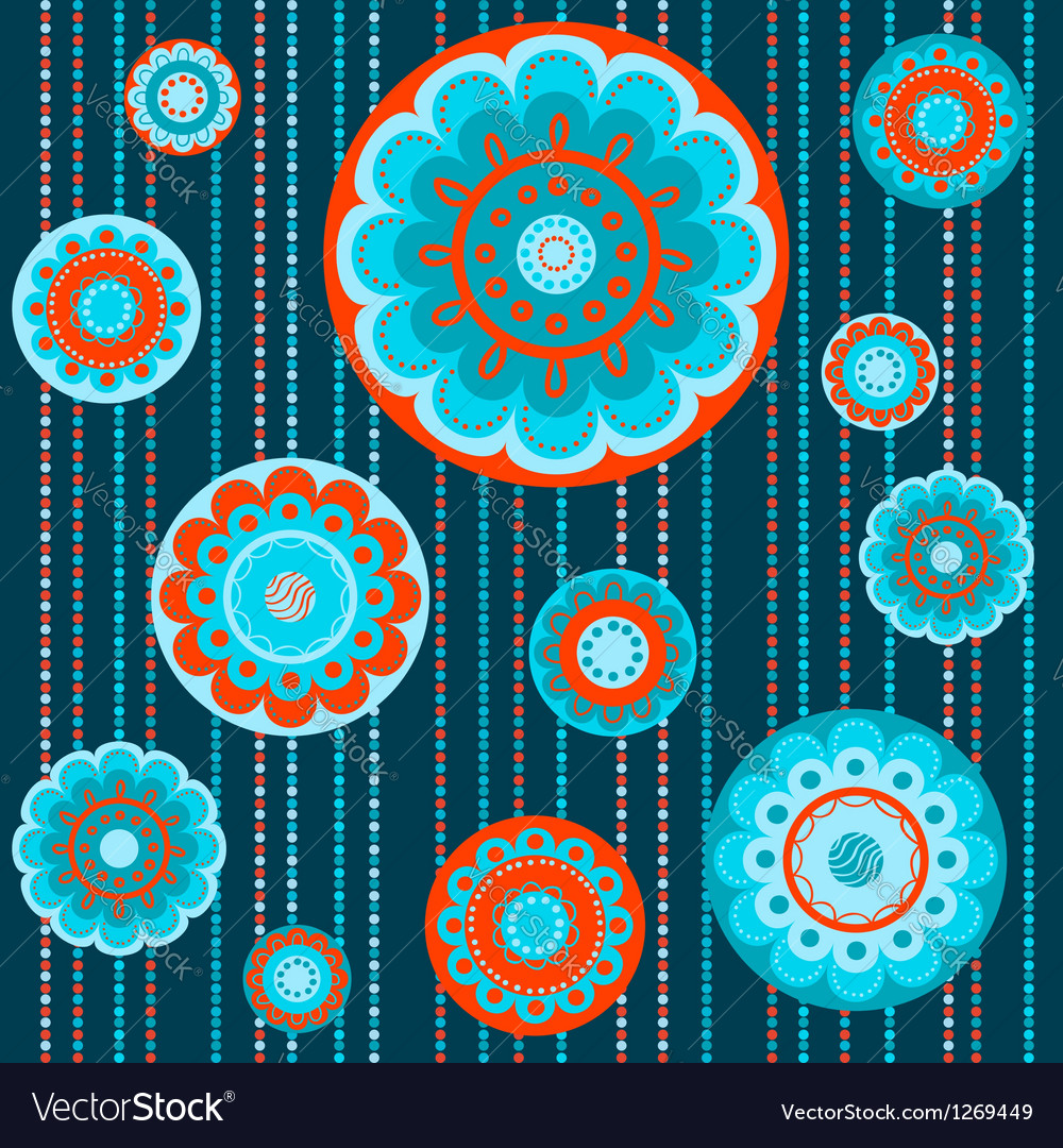 Abstract flowers in orange and turquoise vector