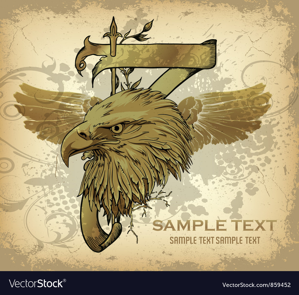 Free vintage emblem with eagle head vector