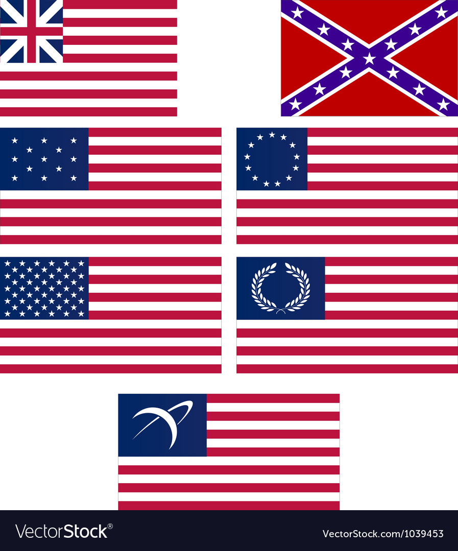 Set of american flags vector