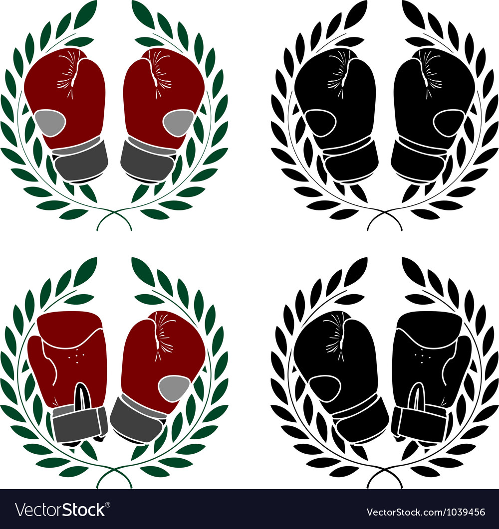 Set of boxer gloves stencils vector