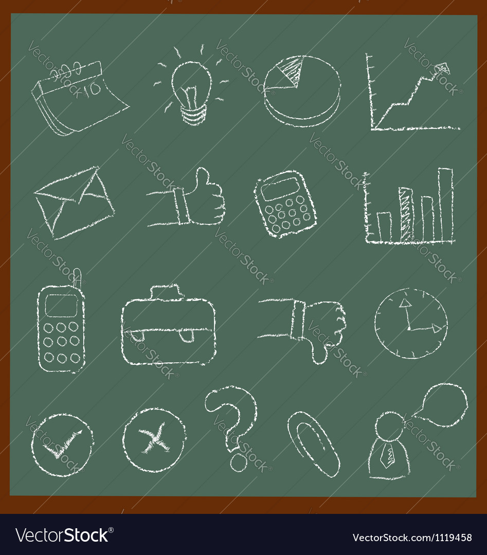 Chalkboard business icons vector