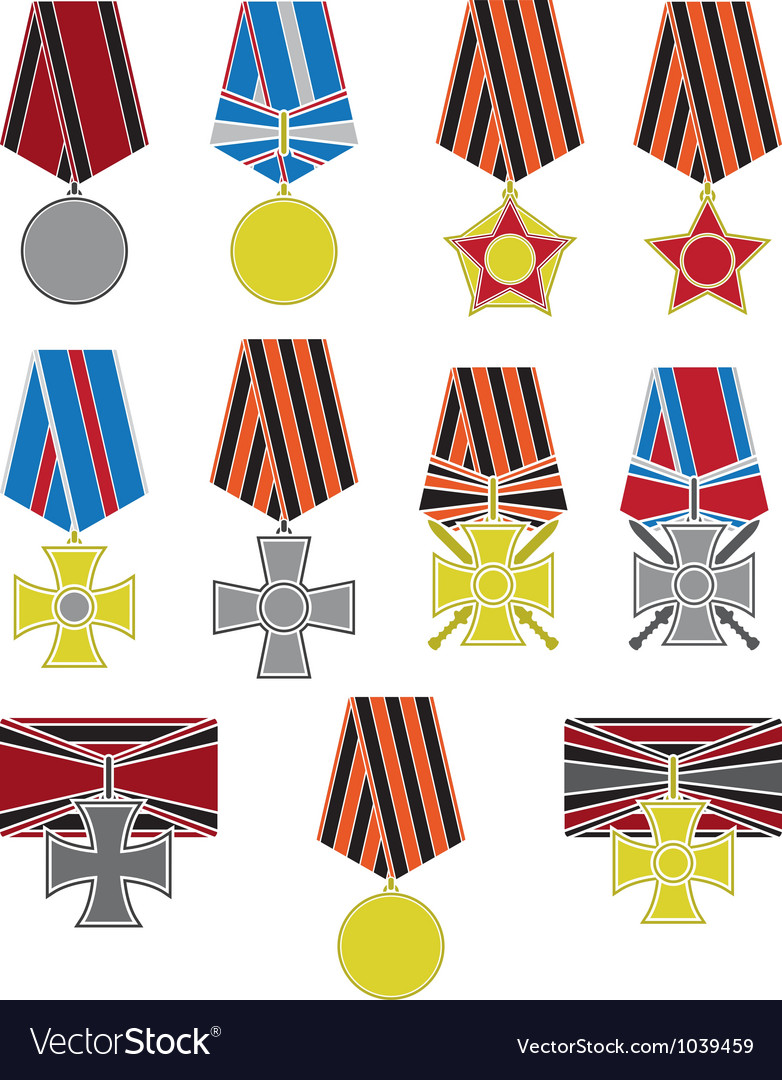 Set of crosses and medals vector
