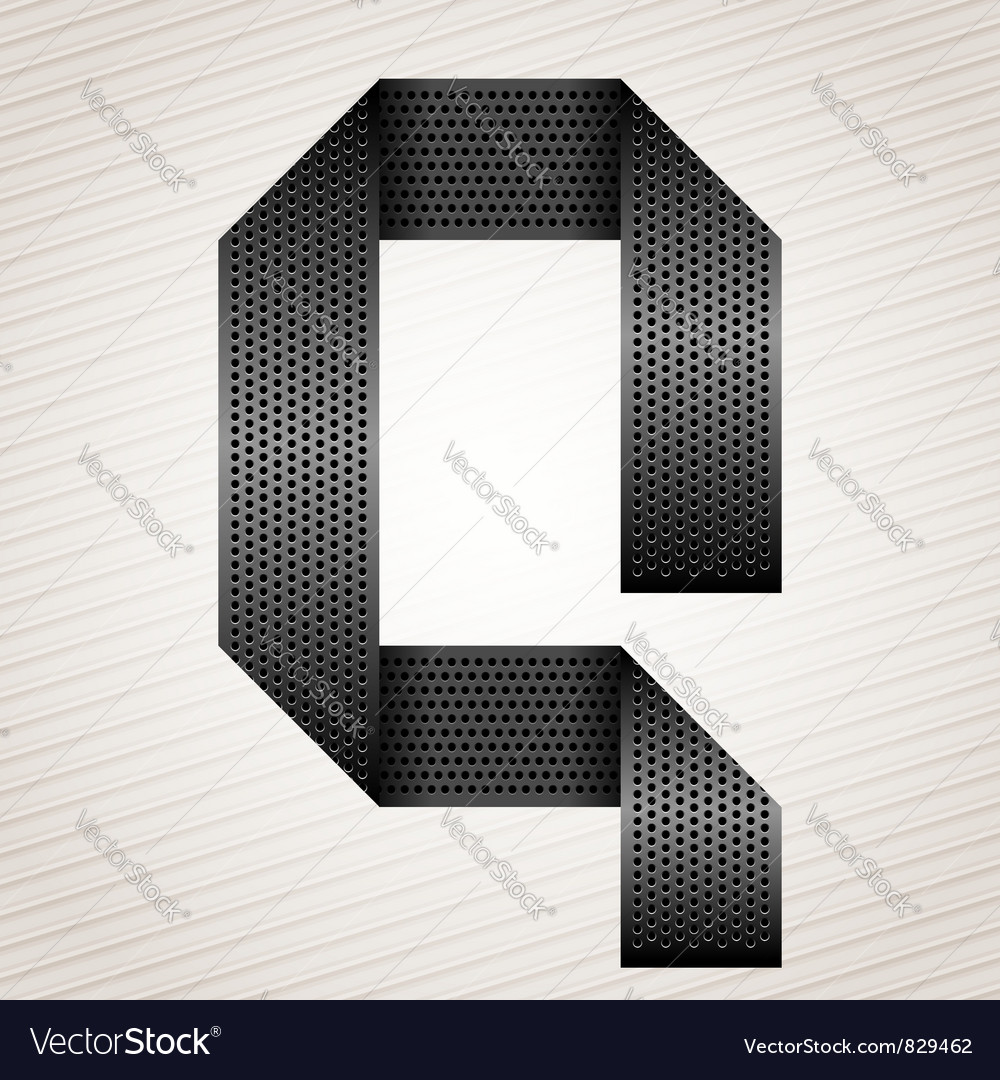Letter metal ribbon  q vector