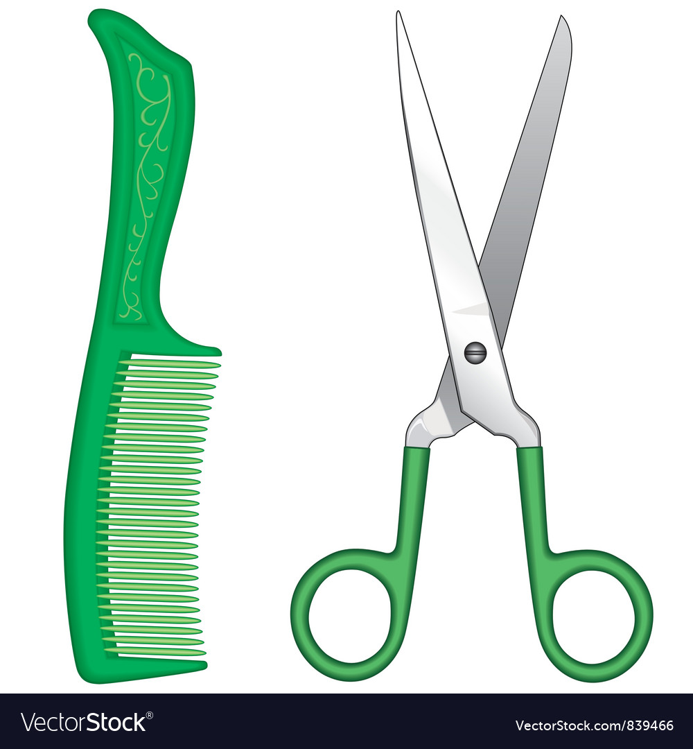 Comb and scissors vector