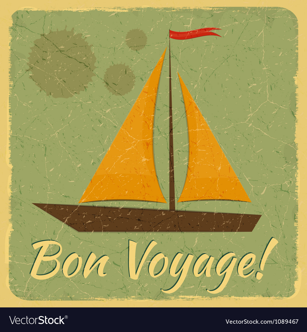 Old fashioned travel card vector
