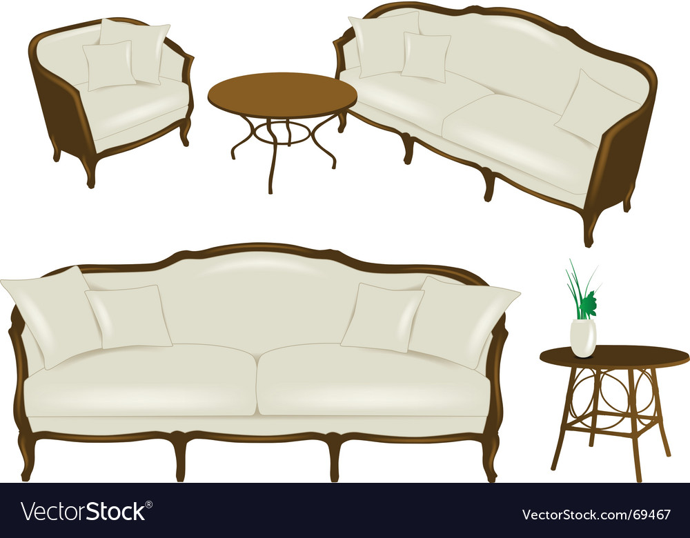 Set of antique elements  furniture vector