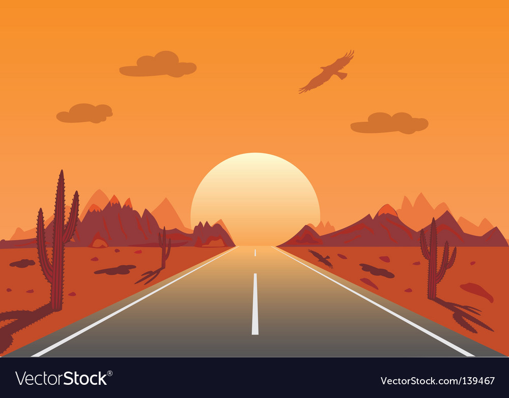 Sunset road in mexican desert vector