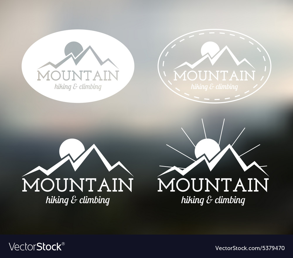 Set of summer mountain camp badge logo and label