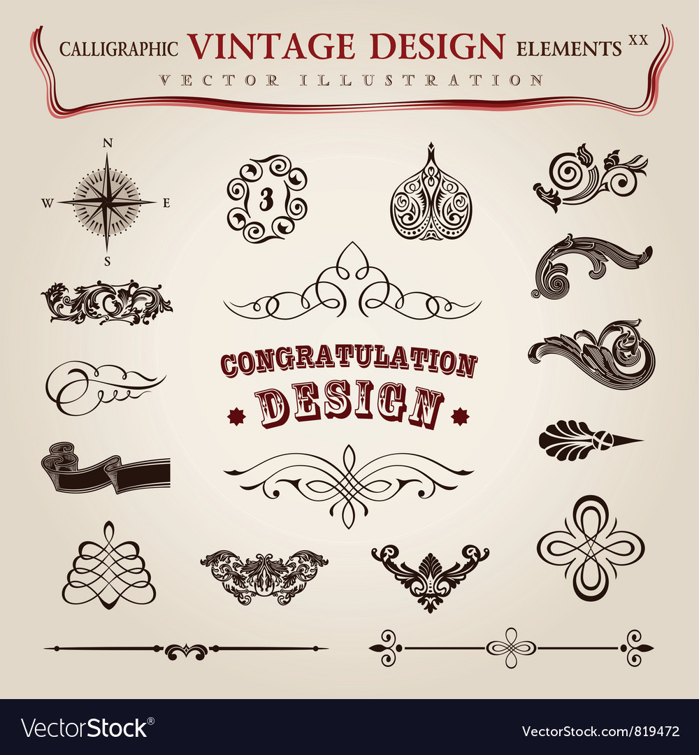 Calligraphic vintage elements vector