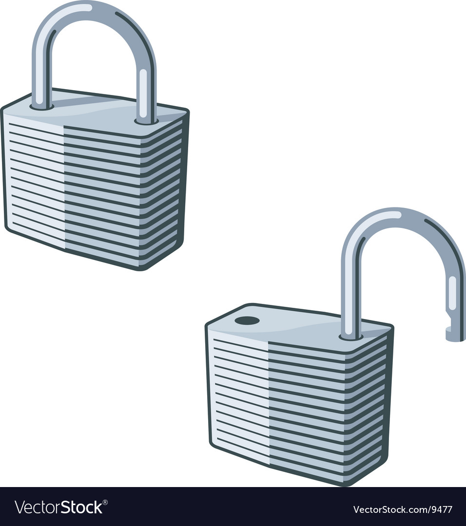 Padlock open and closed vector