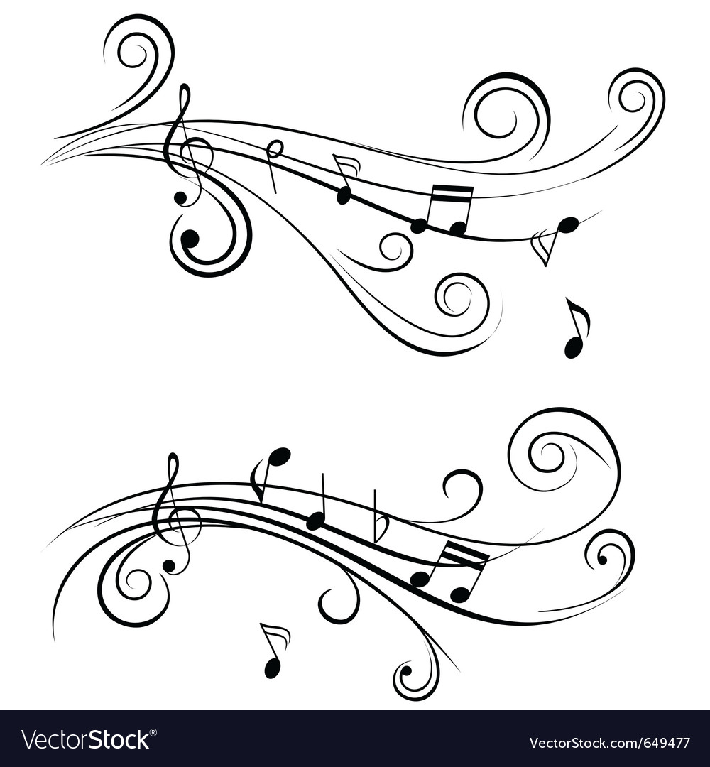 Sound wave sheet music notes vector