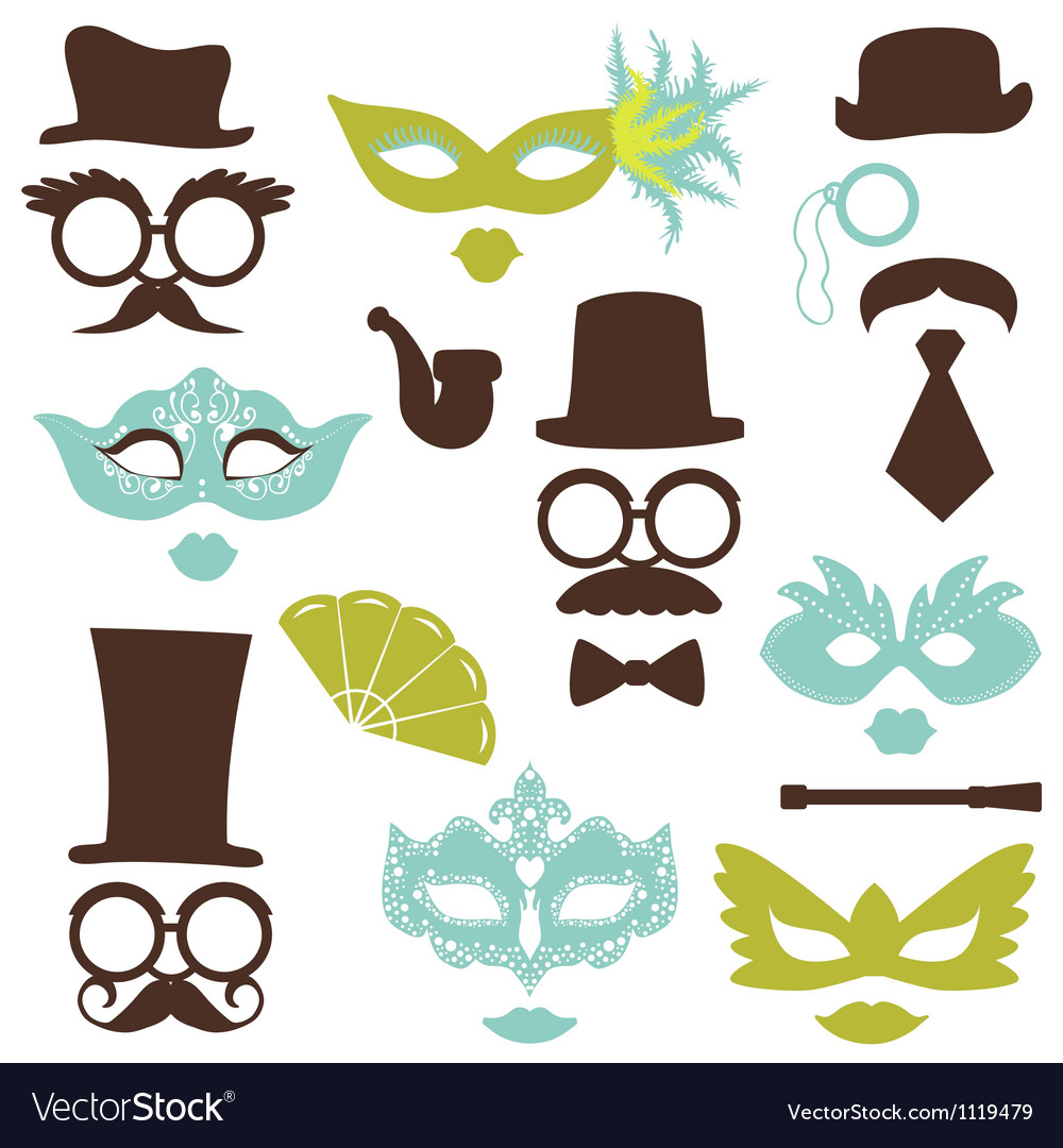 Retro party set  glasses hats lips mustaches mask vector